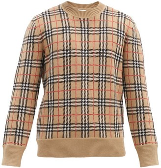 Burberry Fletcher Nova Check-jacquard Wool Sweater - Beige