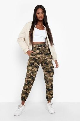 boohoo Camo Print Elasticated Hem Cargo Trousers