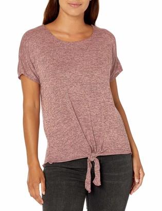 Star Vixen Women's Petite Dolman Sleeve Hi-Low Hem Tiefront Sweater Knit Top