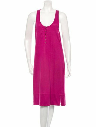 Sonia Rykiel Rib Knit-Trimmed Sleeveless Dress w/ Tags Magenta