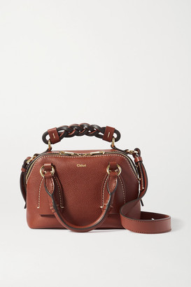 Chloé Daria Small Textured And Smooth Leather Tote - Brown