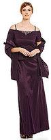 Jessica Howard Off-the-Shoulder Beaded Neck Popover Dress