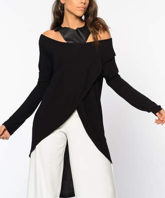 Simmly Women's Wrap Tops BLACK - Black Asymmetric Cross-Front Off-Shoulder Top - Women