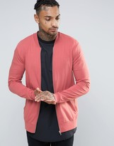 Asos Muscle Fit Jersey Bomber Jacket In Pink