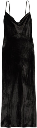 Rebecca Vallance Kara Draped Velvet Midi Slip Dress