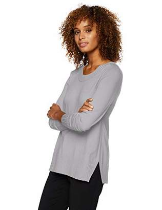 Lark & Ro Women's Long Sleeve Crewneck Side-Slit Sweater