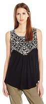 Lucky Brand Women's Shell with Embroiderey Sleeveless Top in