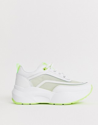 Sixty Seven Sixtyseven neon colour block chunky sneaker in white
