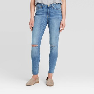 Universal Thread Women's High-Rise Distressed Curvy Skinny Jeans - Universal ThreadTM Medium Wash