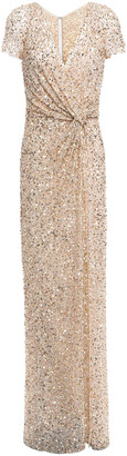 Jenny Packham Twist-front Sequined Tulle Gown