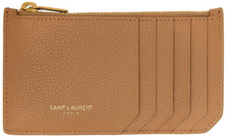 Saint Laurent Brown Fragment Zipped Card Holder