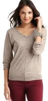 LOFT Beaded V-Neck Seam Detail Sweater