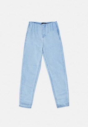 Missguided Blue Seam Corset Detail Highwaisted Jeans