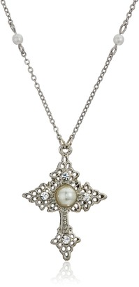 1928 Jewelry Silver Tone Filigree Religious Cross With Simulated Pearl And Crystal Accent Pendant Necklace