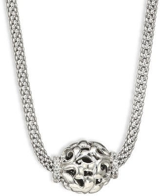 Charles Krypell Sterling Silver White Sapphire Bead Pendant Foxtail Necklace