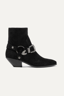 Saint Laurent West Suede Ankle Boots - Black