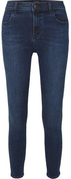 J Brand Alana Cropped High-rise Stretch Skinny Jeans - Dark denim