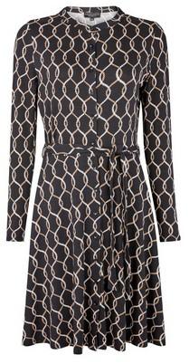 Dorothy Perkins Womens Black Rope Print Jersey Shirt Dress, Black