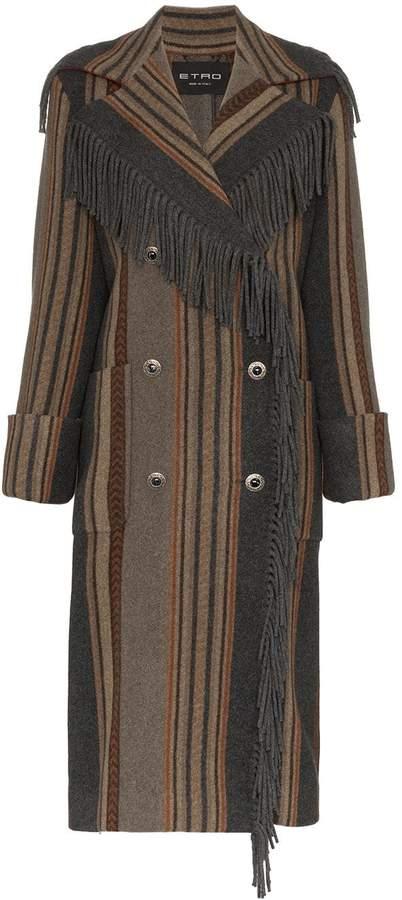 Etro fringed stripe double-breasted coat