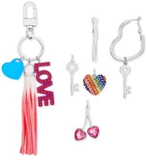 Steve Madden Interchangeable Charm Key Ring & Heart Hoop Earrings Set