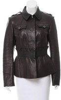 Burberry Ruffle-Accented Leather Jacket