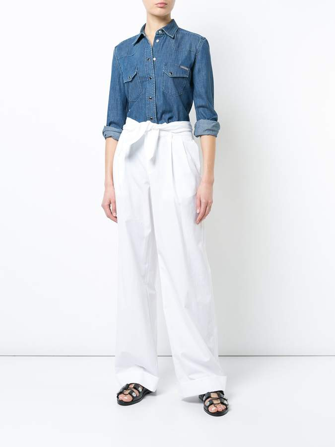 Alexander Wang White pleated front trousers