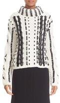 Altuzarra Women's 'Caravan' Leather Trim Wool & Mohair Blend Sweater