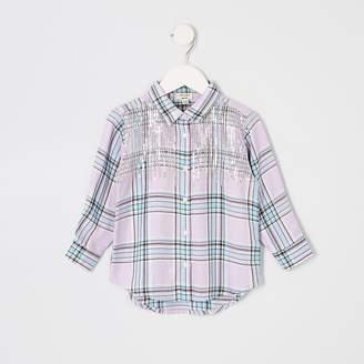 River Island Mini girls purple sequin check shirt