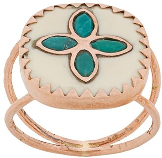 Pascale Monvoisin 9kt rose gold Bowie N2 white turquoise ring