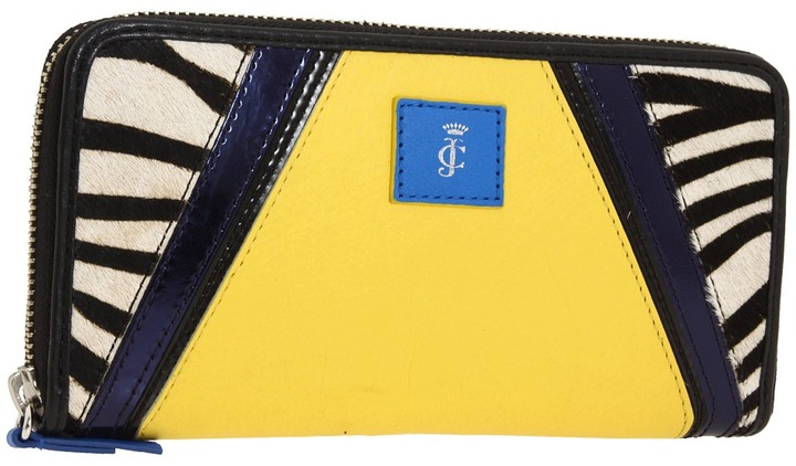 Juicy Couture Textured Money Pieces Zebra Haircalf Zip Wallet (Yellow Multi) - Bags and Luggage