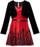 Beautees 2-Pc. Velvet Shrug and Belted Skater Dress Set with Necklace, Big Girls Plus (8-20)
