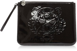 Kenzo Black Preppy Tiger Embossed Eco-Leather Clutch