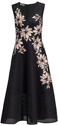 Teri Jon by Rickie Freeman Floral Jacquard Surplice A-Line Dress
