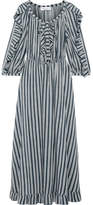 Sonia Rykiel Ruffle-trimmed Striped Crepe Midi Dress - Storm blue