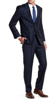 Vince Camuto Navy Windowpane Two Button Notch Lapel Wool Trim Fit Suit