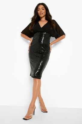 boohoo Batwing Top Sequin Skirt Midi