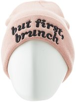 Charlotte Russe But First, Brunch Ribbed Knit Beanie
