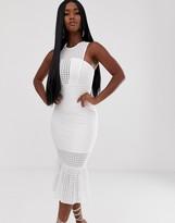 Asos Design DESIGN drop stitch pep hem bodycon midi dress
