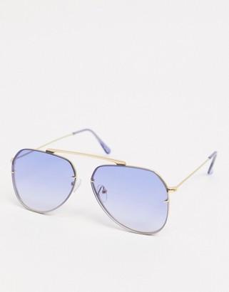ASOS DESIGN 90s aviator sunglasses with nose detail and blue lens
