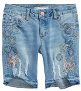 Tractr Embroidered Denim Bermuda Shorts