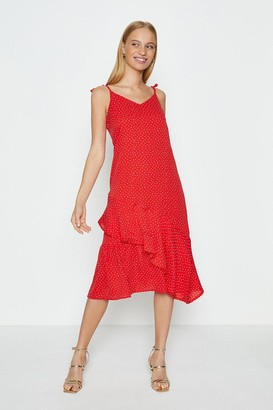 Coast Shoulder Tie Spot Midi Dress