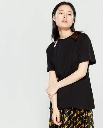 Alysi Button-Down Sequin Collar Short Sleeve Tee