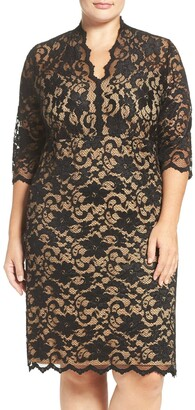 Karen Kane Scalloped V-Neck Stretch Lace Dress