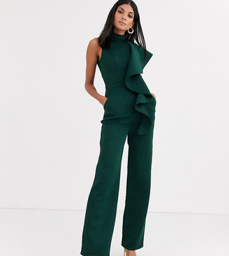 Chi Chi London Tall high neck ruffle jumpsuit in emerald green