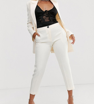 Asos DESIGN Petite pop slim suit pants in ivory