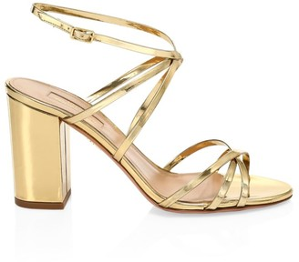 Aquazzura Gin Metallic Leather Sandals