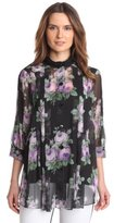 Anna Sui Women's Cabbage Rose Print Crinkle And Rosebud Stripe Tunic