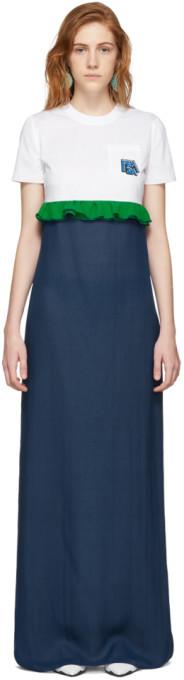 Prada White and Blue Chiffon Long T-Shirt Dress