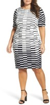 Vince Camuto Plus Size Women's Ruched Stretch Knit Sheath Dress