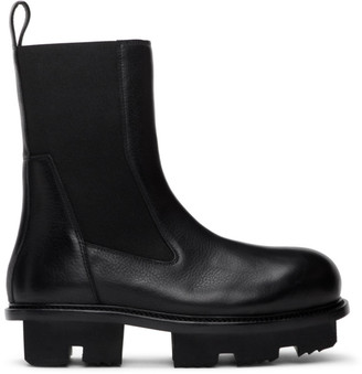 Rick Owens Black Bozo Megatooth Chelsea Boots